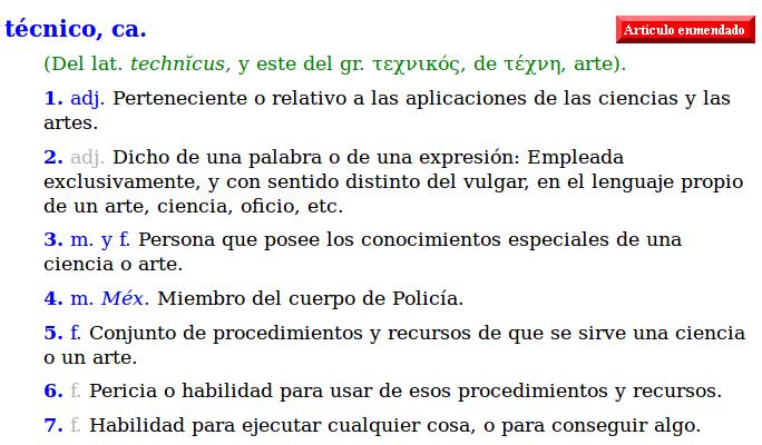 """Definición de """"técnico/a"""" según la R.A.E."""